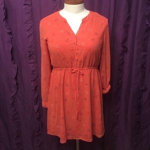 Modcloth Wishbone Coral Cuffed Sleeve Dress